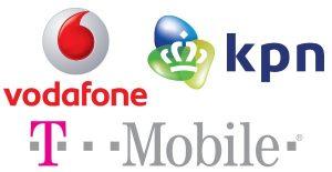 Logo's Vodafone, T-Mobile, KPN