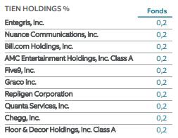 Northern Trust Small Cap top 10 bedrijven